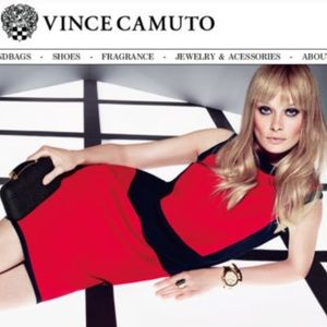 Vince Camuto Red Black Colorblock Dress Large